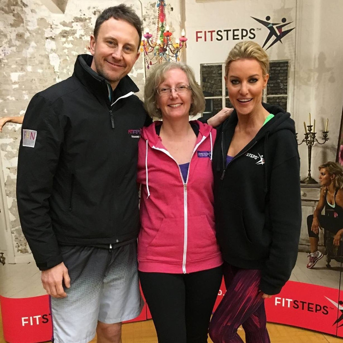 Natalie Lowe and Ian Waite with Sheila Copeman at FitSteps training